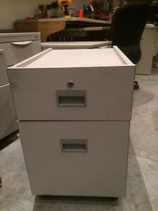 Laminate 2 drawer filing cabinet on wheels (34 avail)