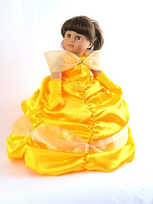 Halloween Doll Dresses (Belle Princess Dress Halloween Costume For 18 Inch American Girl Doll Clothes)