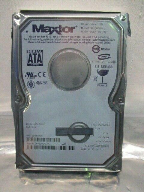 Maxtor DiamondMax 10 6l080M0 Hard Drive SATA150 HDD, 80GB, 6l080M002AL1A, 100300