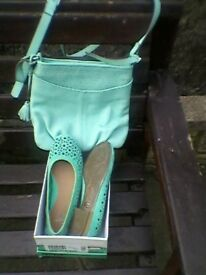 matching green shoes and bag