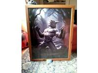 Minted, Framed (3.5ft x 2ft approx) b&w Werewolf Picture (red eyes!!!)
