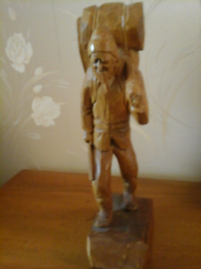 Canadian Folk Art Wood Carving by V. Fortin
