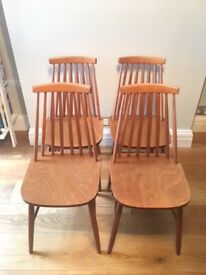 Stick back vintage dining chairs x4