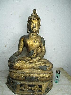 uralter Bronze Buddha aus Ayutthaya, Siam Thailand  original echt-vergoldet 39cm