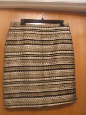 J McLaughlin Skirt Black Gold Brocade Metalic Threads Lined Sz 8 NWT $188 Knee