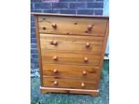SOLID PINE WOODEN CHEST WITH 5 DRAWERS, GOOD USED CONDITION, REDUCED TO CLEAR
