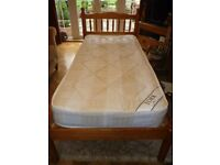 Chunky Pine Single Bed & Mattress in VGC