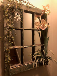 Whimsical wooden antique mirror