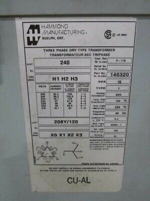 Hammond Manufacturing 3 Ph Transformer Pn 146320 Kva 15type K
