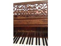 Robert Wornum Down-striking Grand Piano: Antique c1861, Figured Walnut case, Regularly tuned