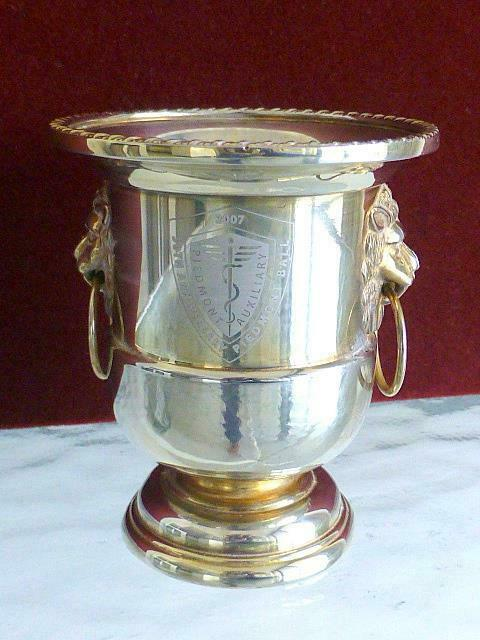 2007 Piedmont Auxiliary Ball Silverplate Lion Handle Urn Vase Atlanta GA