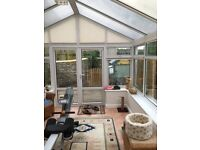 Conservatory - corner design, apex roof, UVPC, fantastic condition, interior blinds