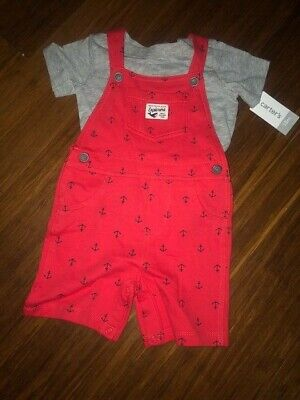 Carter's Boy 2 piece Overall short set Red Gray Anchors 12-18 months New tags 2 Piece Overall Short