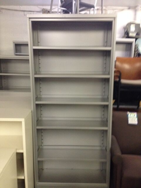"STEELCASE METAL BOOKCASES GREY 36""X81"" ADJUSTABLE SHELVES"