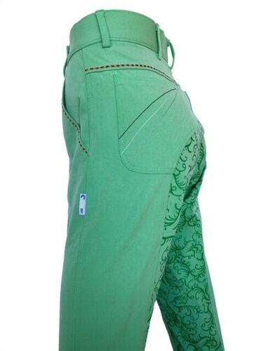 Ladies Lime Full Seat Silicone Grip Breeches sizes 8-22 Green Breeches