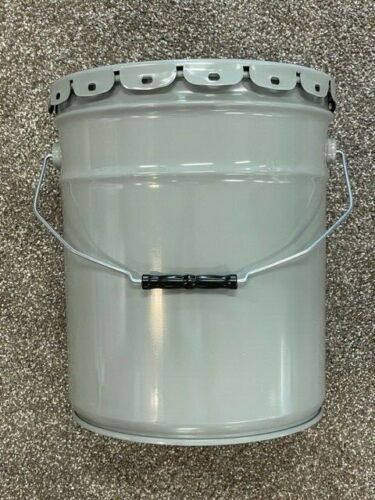 LOT of 1,3,5 Gray Steel 5 Gallon Pails, METAL BUCKET(UN# 1A2.Y2.1) with Lids