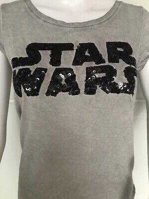 Rock Angel Star Wars Damen T Shirt Hellgrau & schwarzen Pailletten 34 XS