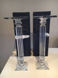 2 Original Bohemia Crystal Candle Holders - Matching Pair in Box