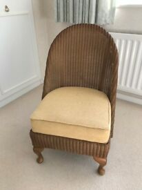 Lloyd Loom Bedroom Chair, Gold Colour Seat