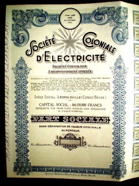 Societé Coloniale d´Electricité 1951 unissued  share certif.