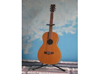 Tanglewood TW73 vintage 10 yr old parlor acoustic guitar solid top w/gigbag & stand