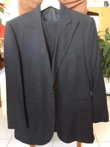 Men's 3 piece black suit, 44 S