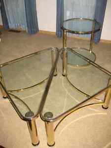 Coffee tables matching etagere brass glass coffee for Coffee tables regina