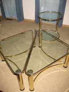 Coffee tables & matching etagere -- brass & glass