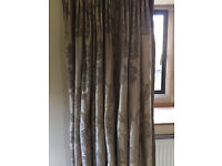 Heavy Silk Curtains - Fully lined - Oyster with Duck Blue-Grey Motif