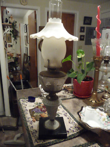 Beautiful Tall Antique Oil Lamp With Lovely Milk Glass Shade