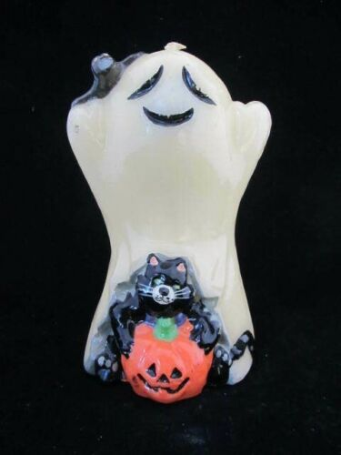 "Vintage Halloween Ghost Candle- Jack-o-lantern- Cat- Bat- 6.0"" Tall"