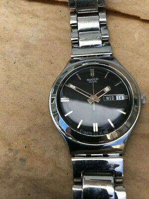 Swatch Irony Watch Swiss Stainless Steel Day/Date 1999 Runs New Battery