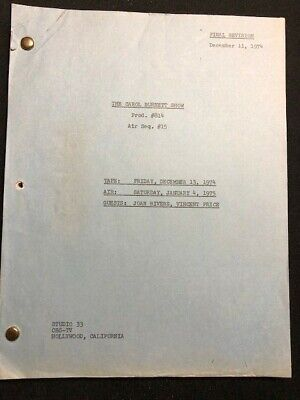 CAROL BURNETT SHOW (VINCENT PRICE & JOAN RIVERS) 1974 TV SCRIPT