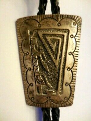 Used, Vtg Old Pawn Navajo JEROME BEGAY Sterling Silver Mudhead Kachina Bolo Tie for sale  Augusta