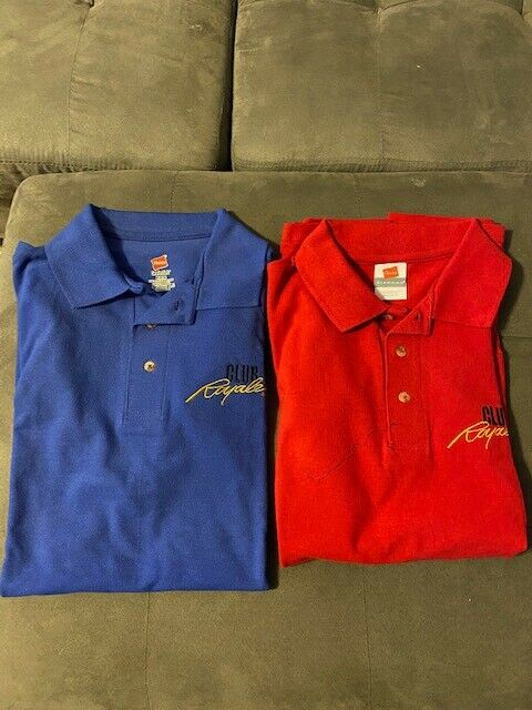 2 Royal Caribbean Cruise Line International Club Royale  Polo Shirts Red & Blue