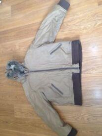 Men's Warm winter coat - sand coloured - hooded jacket.