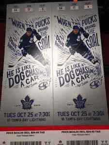 Leafs vs Lightning Oct 25th First Row Reds **BELOW FACE VALUE**