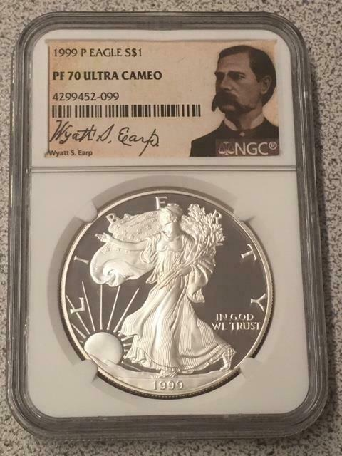 1999-P US American Proof Silver Eagle Dollar $1 PF70 Ultra Cameo NGC