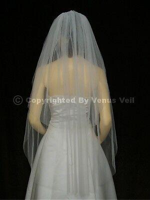 2T White Waltz Knee Length Cut Edge Bridal Wedding Veil Cut Edge Wedding Veil