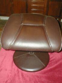 brown leatherette footstool