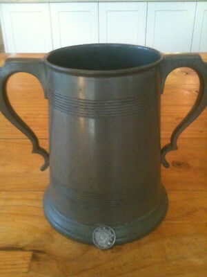 """1864 JAMES DIXON & SONS 7"""" TALL GLASS BASED PEWTER LOVING CUP YEAR STAMP W & 496"""