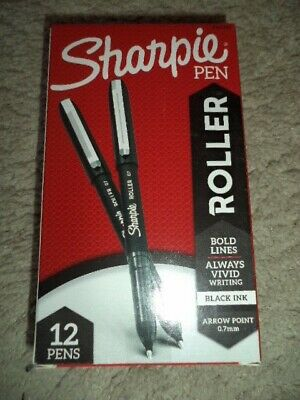 Sharpie 12 Roller Pens Black Ink Needle Point 0.7mm 2101305