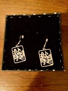 Musical Note Silver Earrings