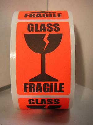 Fragile Glass Large Intl Symbol Fluorescent Red Warning Stickers Labels 250rl