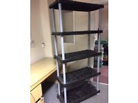 Heavy duty black plastic warehouse racking shelving in good condition. Offers?