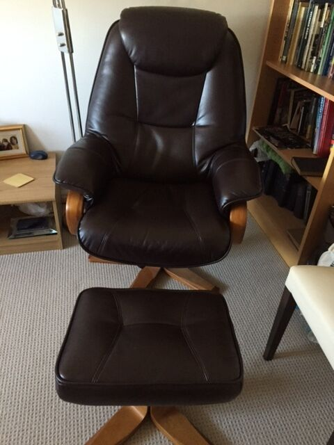 Awesome Bjorn Brown Leather Recliner Chair And Stool Set Excellent Condition In Stanmore London Gumtree Creativecarmelina Interior Chair Design Creativecarmelinacom