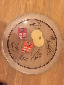 Rare - Status Quo signed Drum skin and drum stick