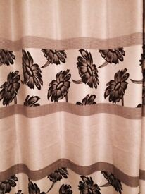 Silver/ Black lined eyelet curtains