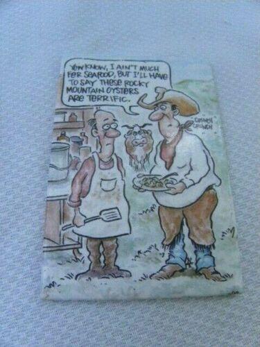 Vintage Cowboy Western Magnet Refrigerator Fridge Rocky Mountain Oysters Funny