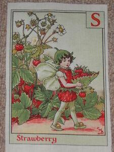 Flower-Fairy-Fairies-Cotton-Alphabet-Letter-Fabric-Panel-S-Strawberry